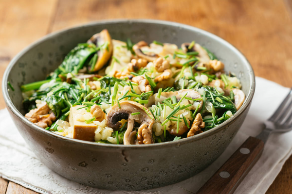 Spinach and Mushroom Risotto with Toasted Walnuts