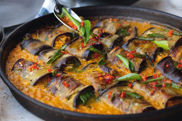 Stuffed Aubergines in a Curry and Coconut Dal