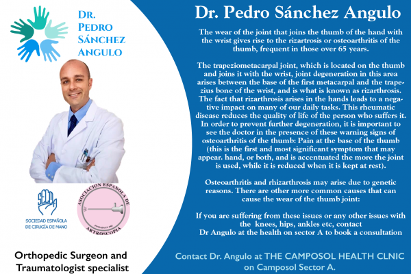 Orthapedic Surgeon and Traumatologist specialist Dr Pedro Sanchez Angulo