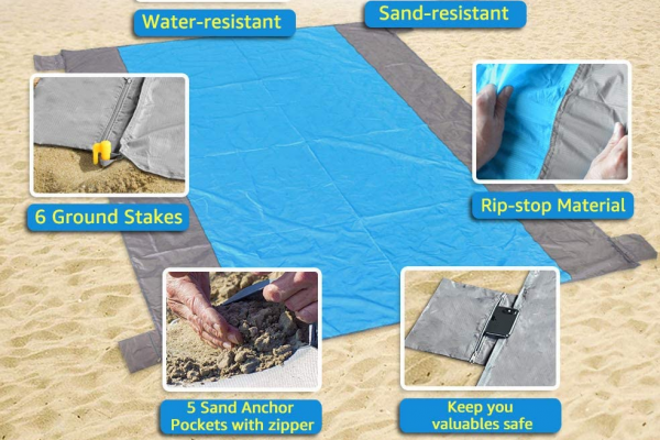 Large Sandproof Beach Mat for 4-7 Adults, Waterproof Pocket Picnic Blanket with 6 Stakes, Outdoor Blanket for Travel, Camping, Hiking post image on the-journal.es