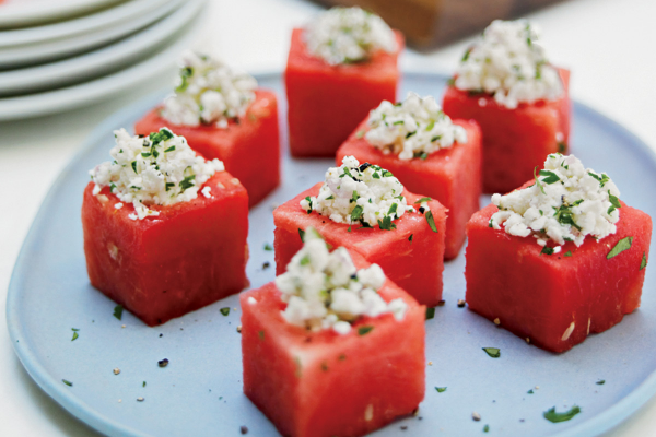 Feta and Mint Watermelon Cups