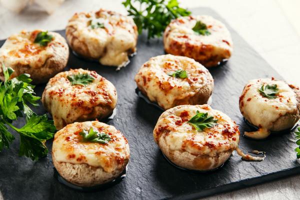 Jumbo Mushrooms with Camembert Cheese and Pine Nuts